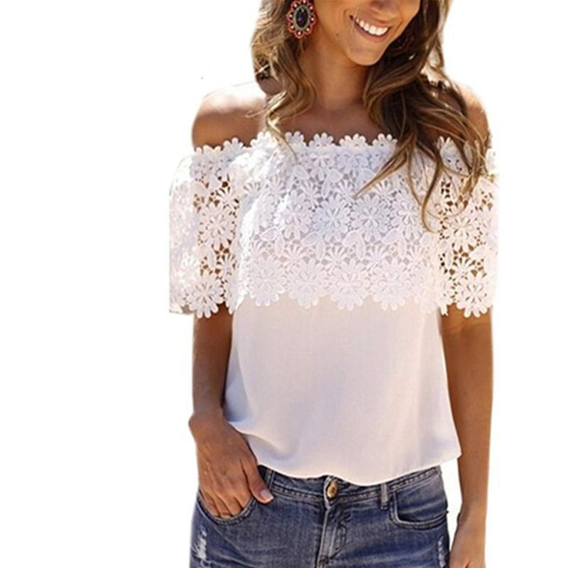 Summer Women Sexy Slash Neck Tops Casual Off Shoulder Chiffon Lace Blouse Shirts White-Blouse-SheSimplyShops