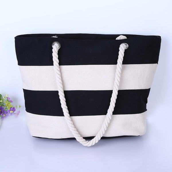 Women Beach Canvas Bag Fashion Color Stripes Printing Handbags Ladies Large Shoulder Bag Totes Casual Bolsa Shopping Bags-BAG-SheSimplyShops