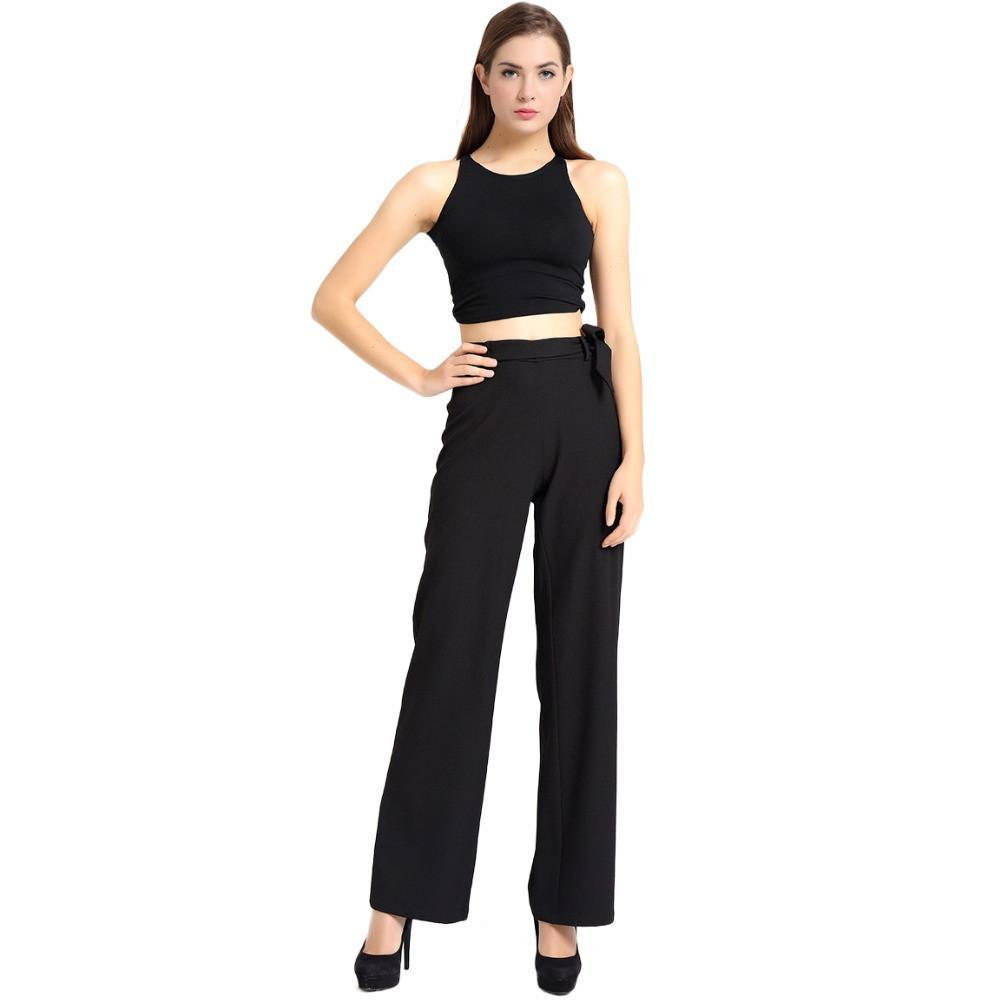 T-Inside Women's Elegant High Waist Wide Leg Pants Trousers with Adjustable Belt for Daily and Business Solid Colors Black-PANTS-SheSimplyShops