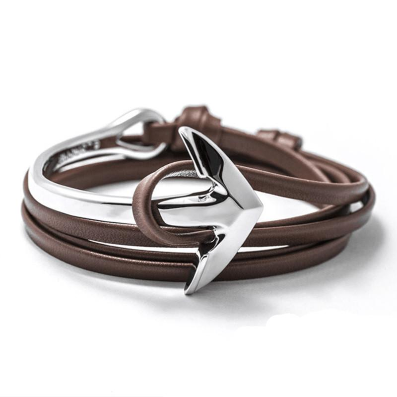 PU Leather Half Bend Anchor Bracelet-BRACELETS-SheSimplyShops