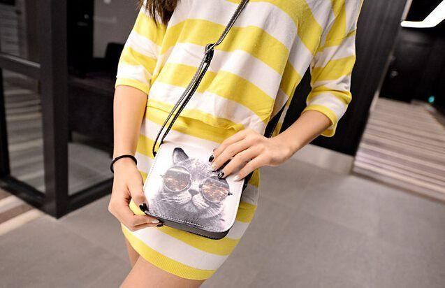 Bolsa Bolsos Carteras Mujer Marca Women PU Leather Cat Wearing Big Glasses Print Shoulder Handbags Bag L4-1186-BAGS-SheSimplyShops