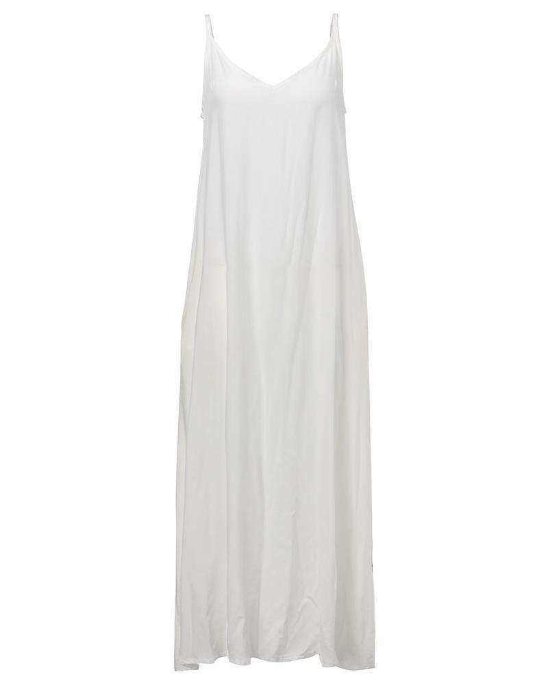 Strapless V-neck Maxi Dress-Dress-SheSimplyShops