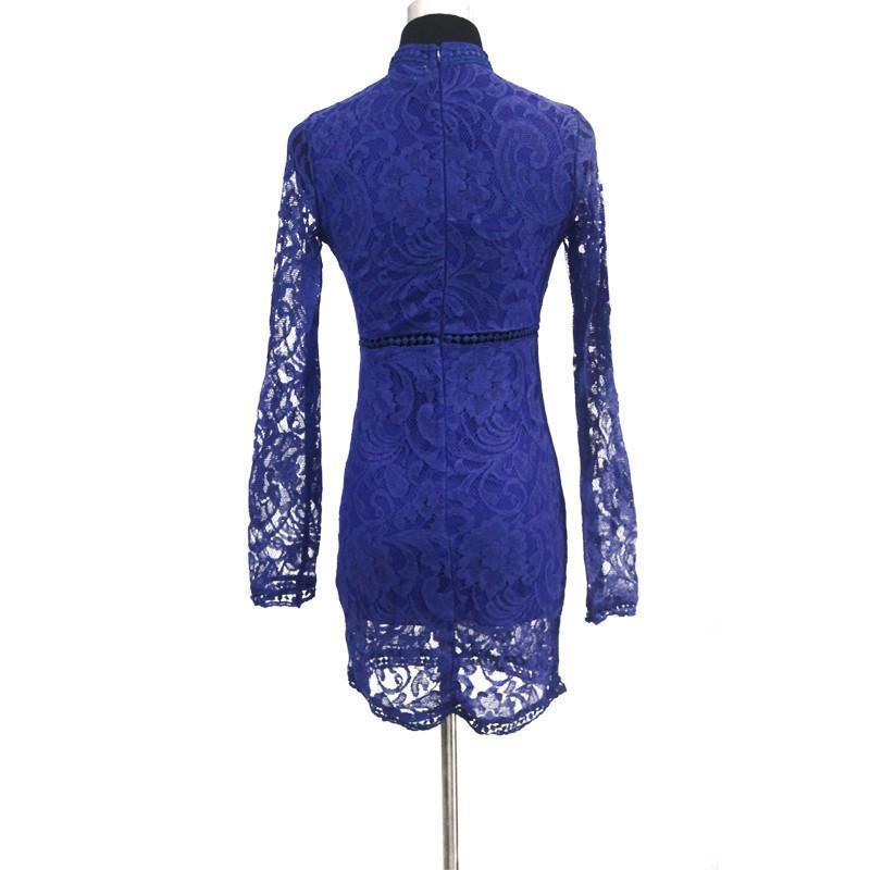 New Arrival Autumn Women Dress Fashion Casual Lace Long Sleeve O-Neck Dresses For Evening Party-Dress-SheSimplyShops