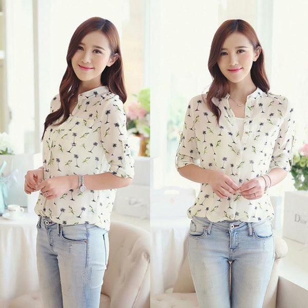 Fashion Women Spring Casual Clothing Long Sleeve Chiffon Print Shirt Slim Top Blouses Plus Size-Tops-SheSimplyShops