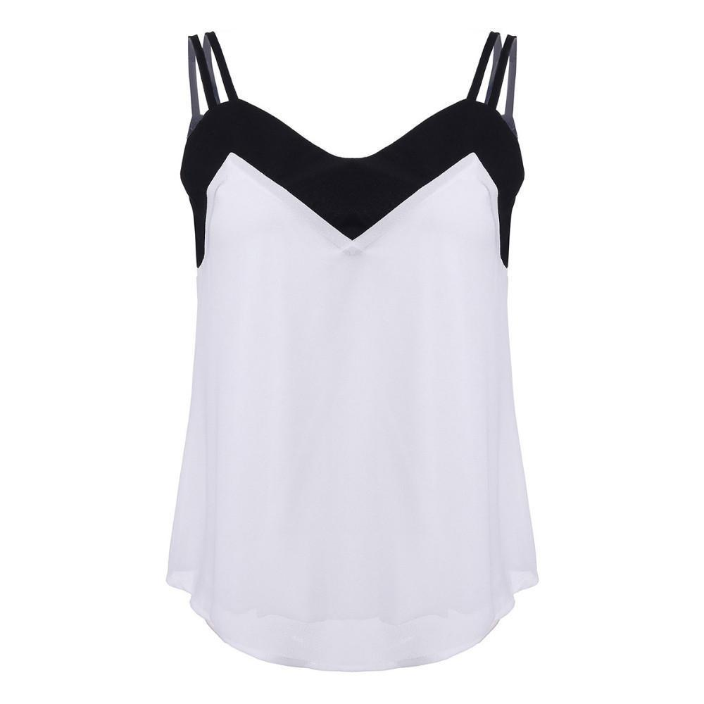 Summer Style Sexy Women Blusas Sleeveless Halter Blouses Casual Vest Loose Chiffon Blouse V Neck Tank Tops-Blouse-SheSimplyShops