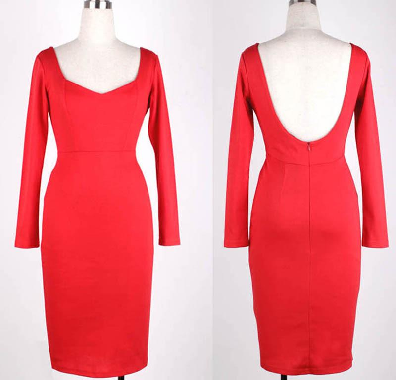 Spring autumn cotton long Sleeve red black Bodycon sheath office work business casual Pencil womens Dress-Dress-SheSimplyShops