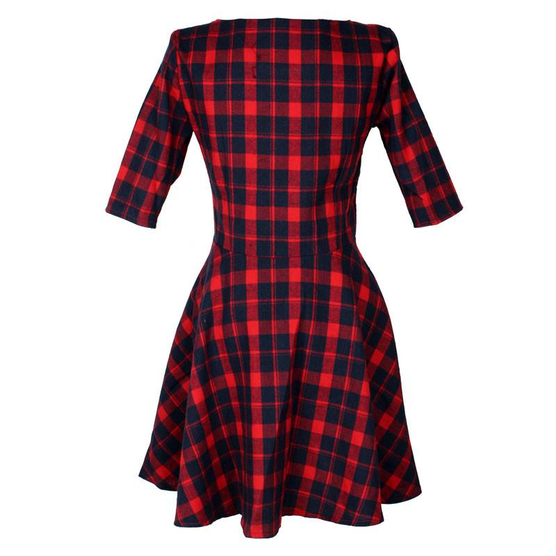 New Women Sexy Red Plaid Dress Round Neck Summer Half Sleeve Party Mini Dresses Fashion-Dress-SheSimplyShops