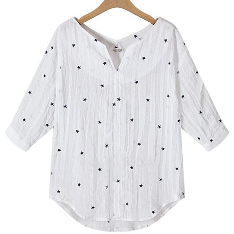 New Fashion Women Casual Loose Three Quarter Sleeve V Neck Star Printed Shirt Joker Shirt Female All-match Blouse Top-Blouse-SheSimplyShops