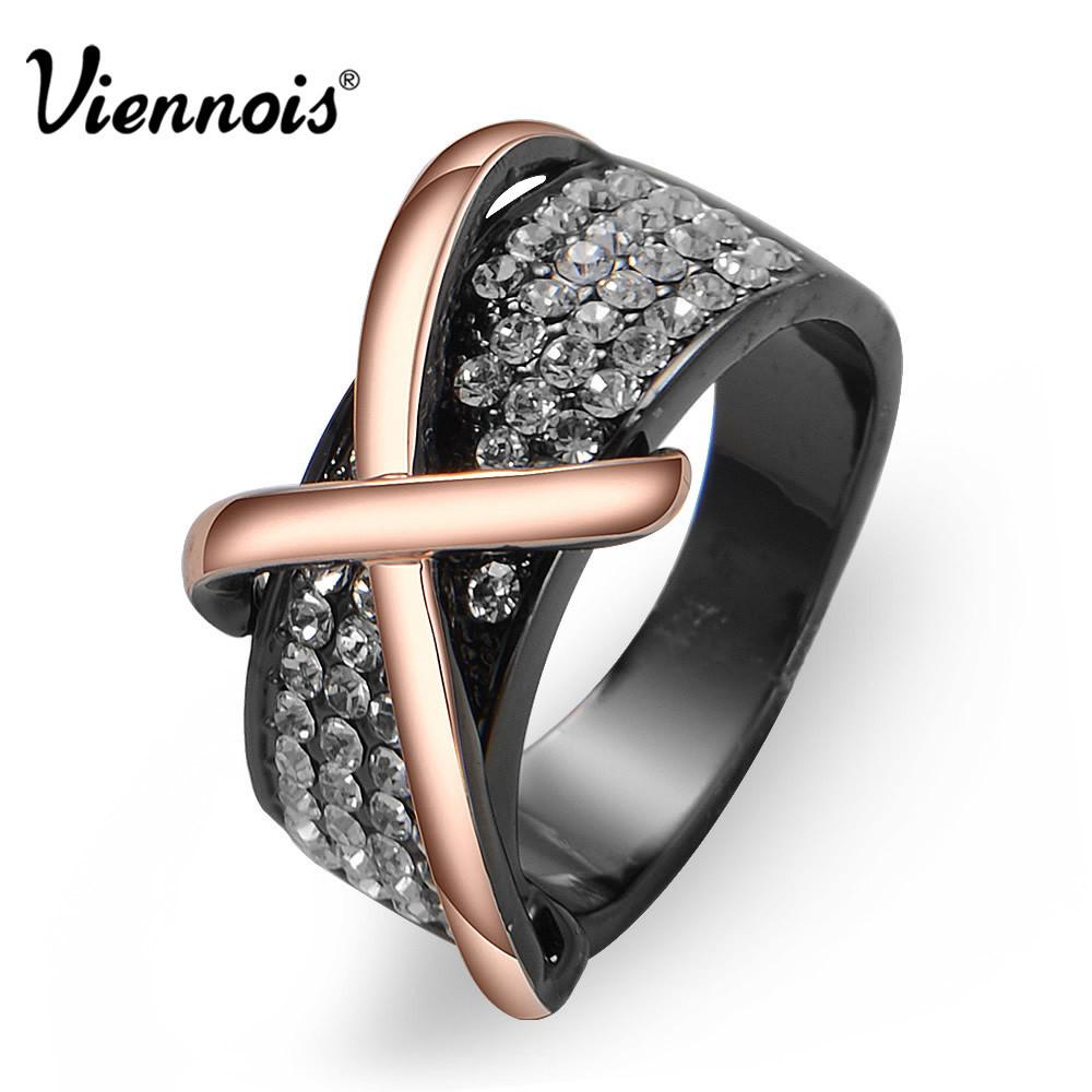 Viennois GP Rose Gold/ Gun Plated Cross Rhinestone Crystal Cocktail Engagement Ring For Women Christmas Gift-JEWELRY-SheSimplyShops