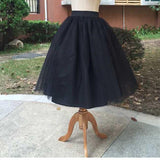 New Puff Women Chiffon Tulle Skirt White High waist Midi Knee Length Chiffon-SKIRT-SheSimplyShops