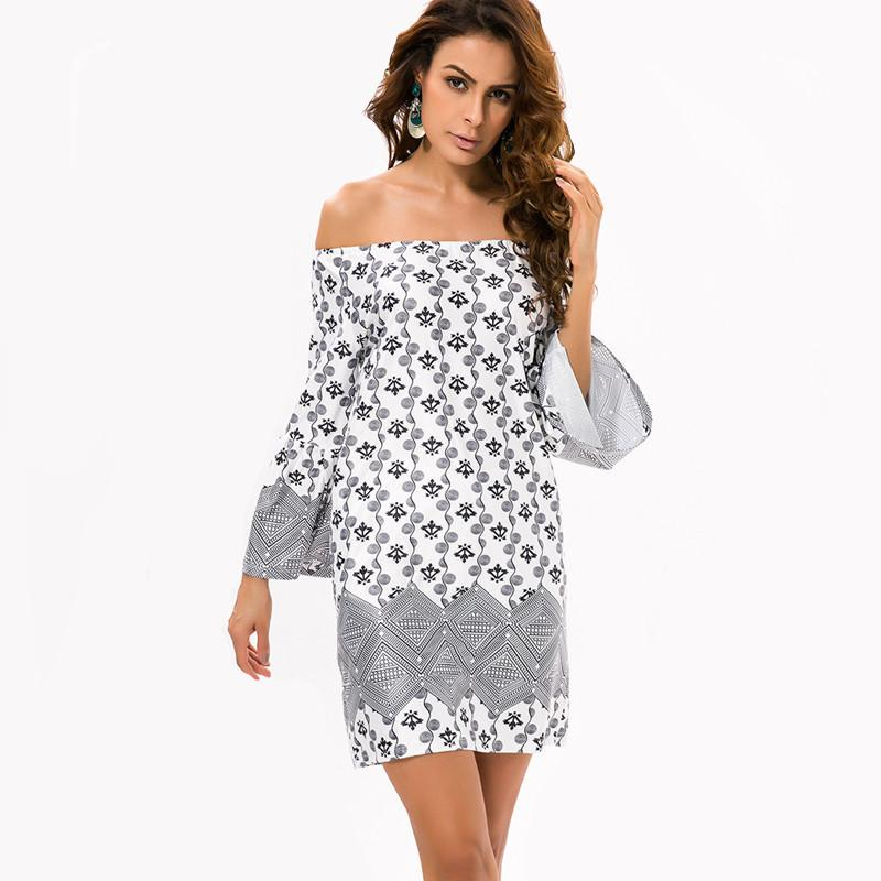 Fashion European Style Robe Dress Off Shoulder Flower Print Woman Clothes Vestidos Casual Bohemian Beach Tops Summer Party Dress-Dress-SheSimplyShops