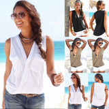 Summer Style Womens Sexy Sleeveless V Neck Tops Vest 2016 Fashion Casual Pockets Shirts Beach Top Blouse-Tops-SheSimplyShops