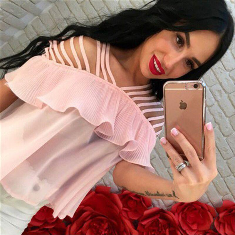 summer women fahsion ruffles solid tops knitted slash neck solid kawaii-Tops-SheSimplyShops