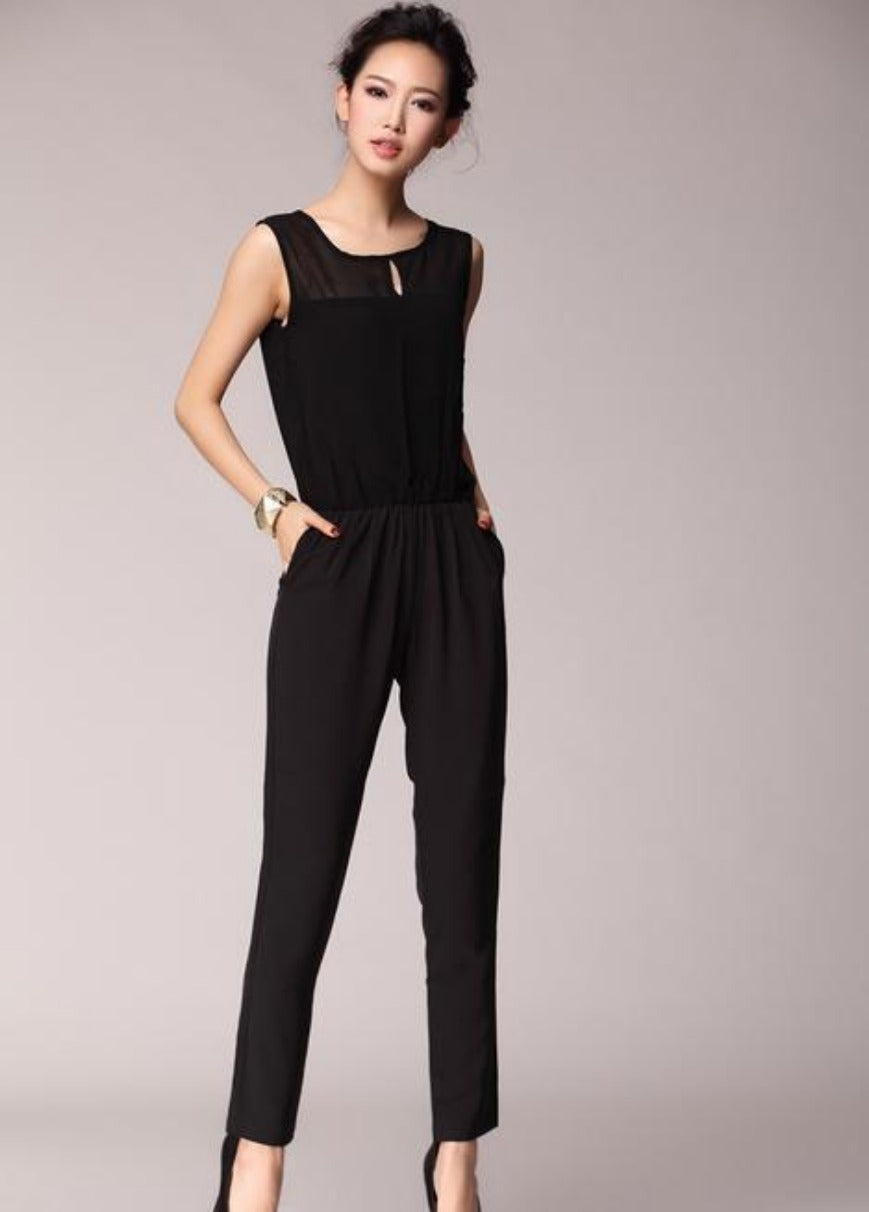 Summer Fashion Women Jumpsuit Tank Sleeveless Overall Ladies' Casual Jumpsuits Black Pants Rompers Plus Size-ROMPERS & JUMPSUITS-SheSimplyShops