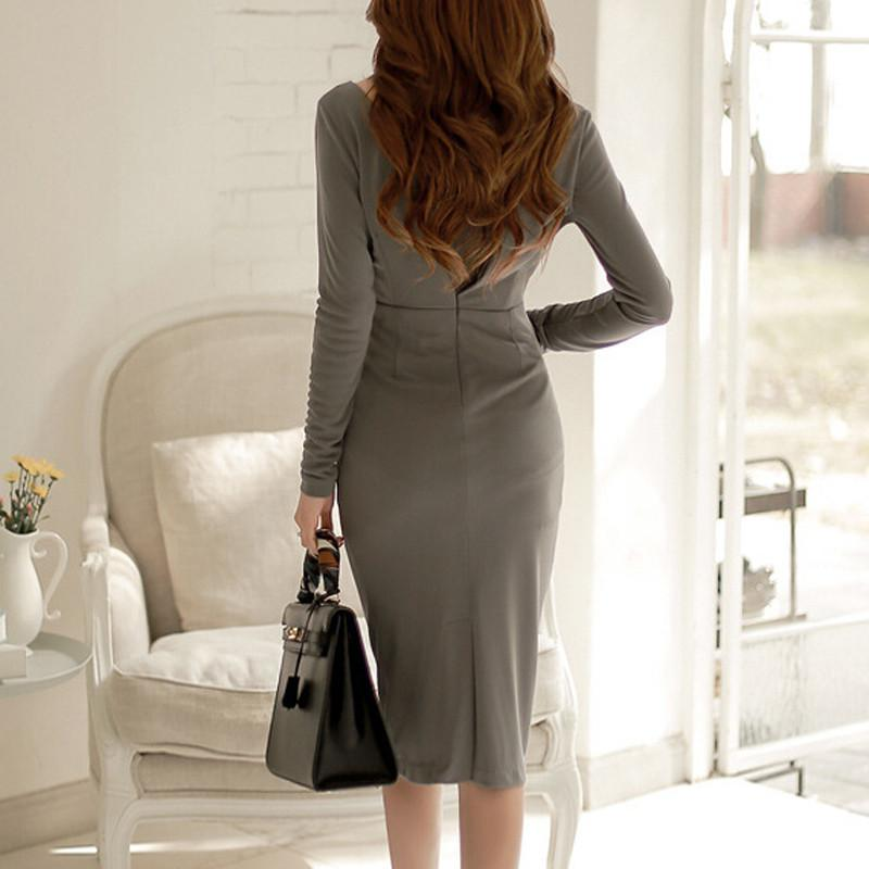 Elegant Front Cross Bodycon-Dress-SheSimplyShops