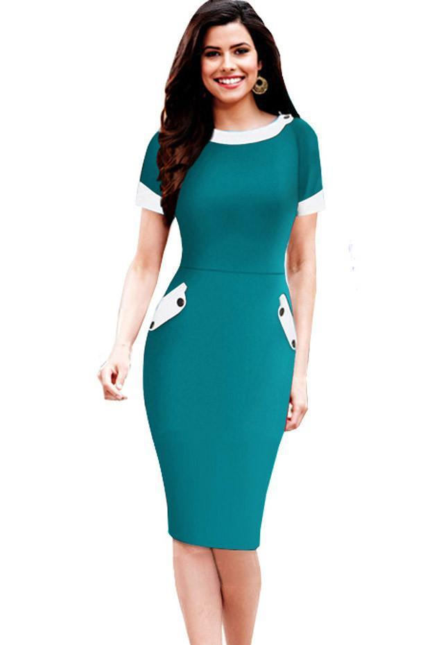Nice-forever Ladies Office elegant Women Tunic Plus Size Work Dress button Short Sleeve Bodycon Business Pencil Midi Dress 832-Dress-SheSimplyShops