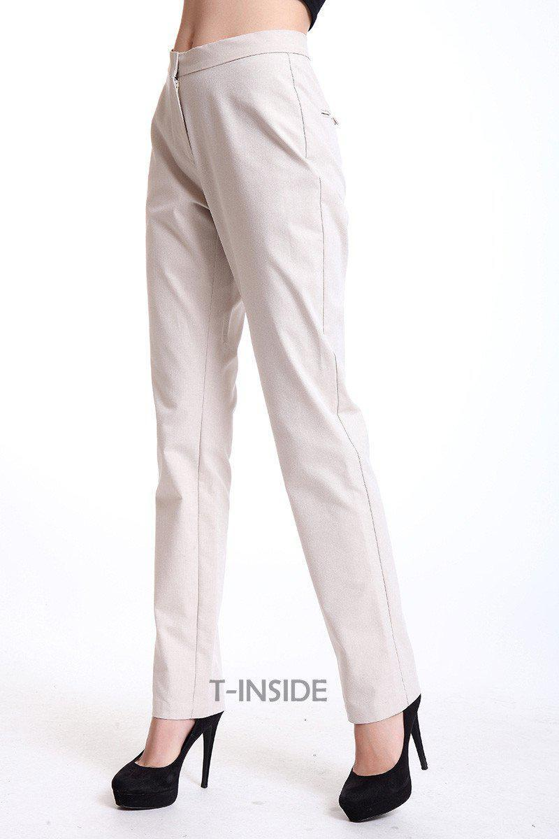 T-INSIDE Women Pants Elegant Cotton Strechy Fitted High Quality Wear to Work Fashion Women White Sheath Pants Brand New-PANTS-SheSimplyShops