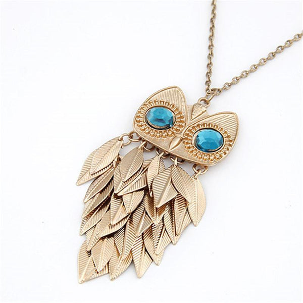 Fashion Long Owl Necklace for Women Vintage Gold Crystal Leaf Owl Statement Necklaces Pendants Collares kolye Jewelry-NECKLACE-SheSimplyShops