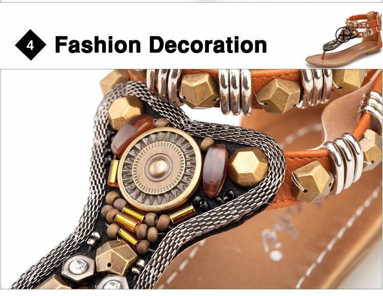 New Women's Gladiator Roman Indian Ethnic Style Leather Flats Sandals Shoes Gladiator Sandals Women Sexy Stud Women Flat Shoes-SHOES-SheSimplyShops