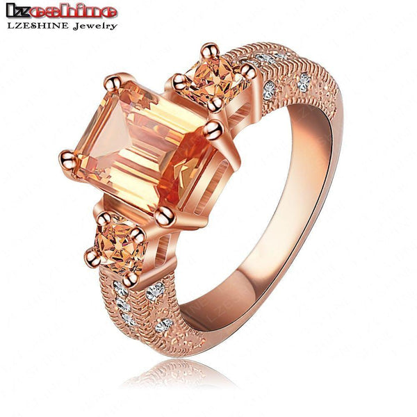Beautiful Ring Rectangle CZ Stone Cutting Ring 18K Rose Gold Plate Zircon Womens Rings Free Shipping US-SheSimplyShops