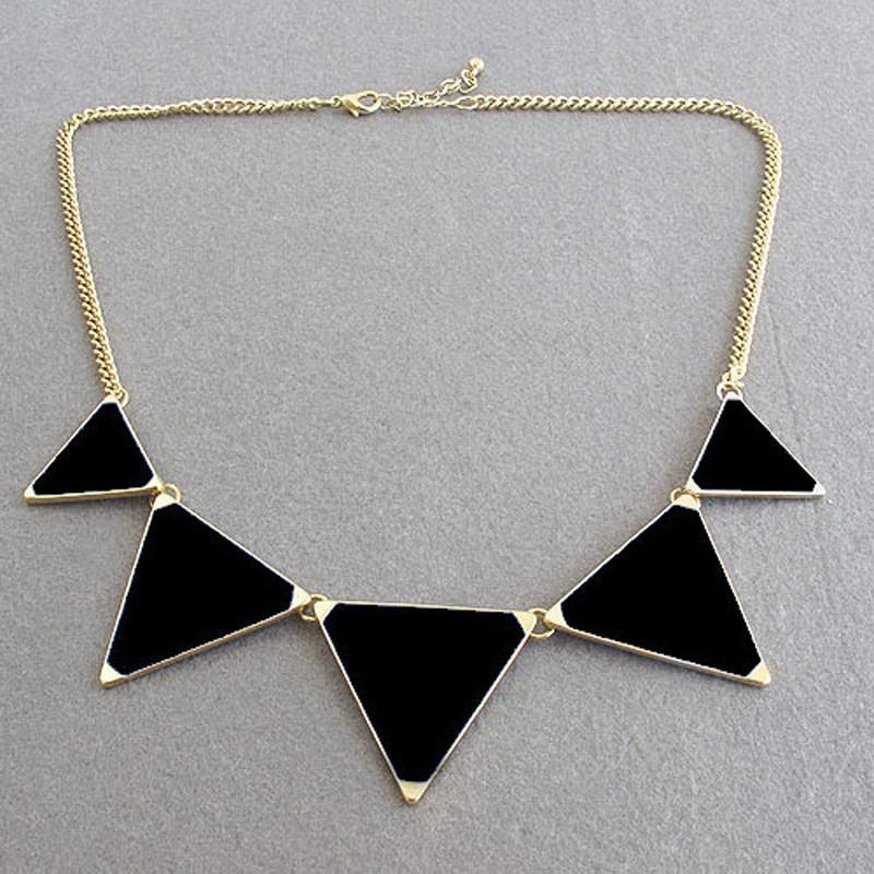 Hot Black geometrical Triangle Necklace Fashion choker necklace Jewelry for women vintage accessories-Dress-SheSimplyShops