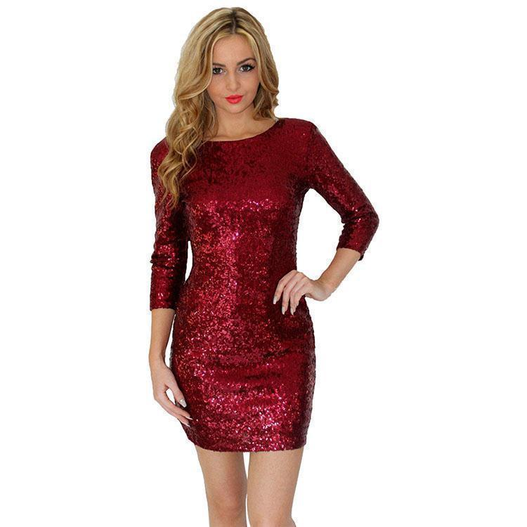 New Fashion Summer Style Womens O Neck Red/Gold/Black Sequins Backless Bodycon Pencil Dress Sexy Slim Club Dress-Dress-SheSimplyShops