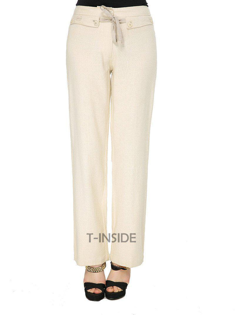 T-Inside Brand New Women's Elegant Loose Casual Cotton Linen Pants Trousers Daily Wear with Wide Leg and Belt-PANTS-SheSimplyShops