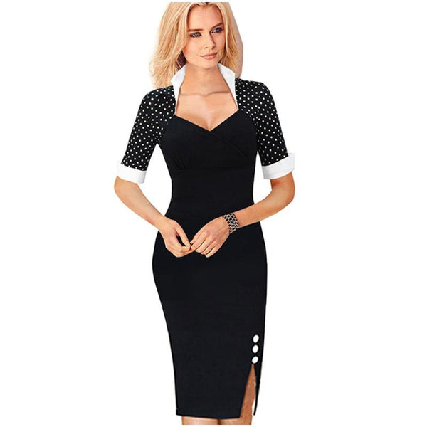 Nice-forever Polka Dots Elegant Women Patchwork Buttons Square Neck Sheath Dress business Wear to Work Split Pencil dress-Dress-SheSimplyShops