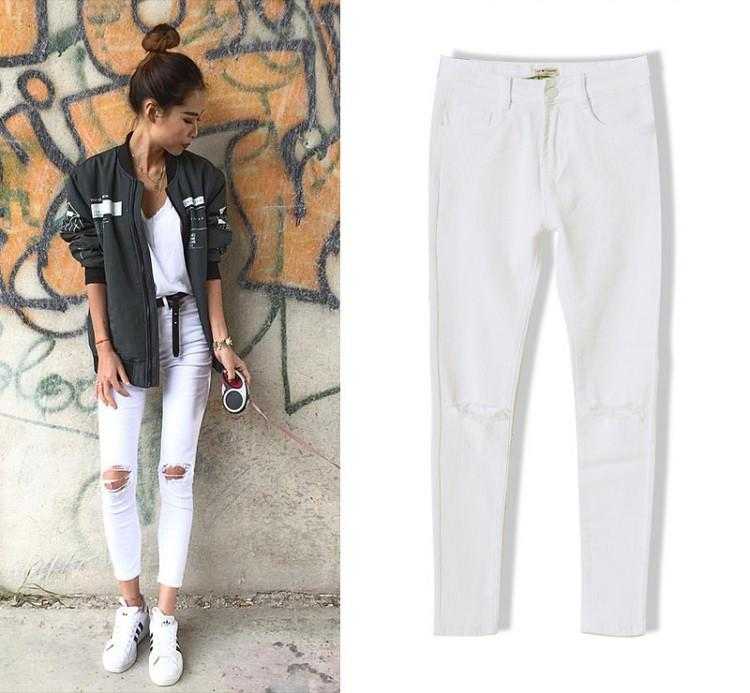 New Fashion Ladies White Ripped Jeans Woman Skinny high waist Jeans Femme Stretch Jean taille haute plus size-JEANS-SheSimplyShops