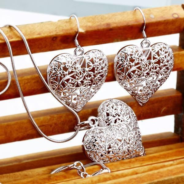 new arrive free shipping Plated silver jewelry fashion cute Pretty Heart Necklace Earring women party set TOP quality-EARRINGS-SheSimplyShops