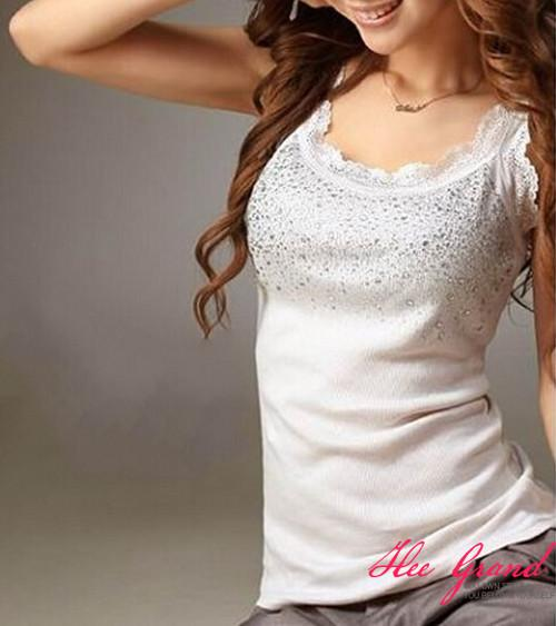 Summer Hot Selling Women Casual Tank Top Korean Style Sexy Bling Rhinestone Lace Solid Slim Soft Tops Colete-Tanks-SheSimplyShops