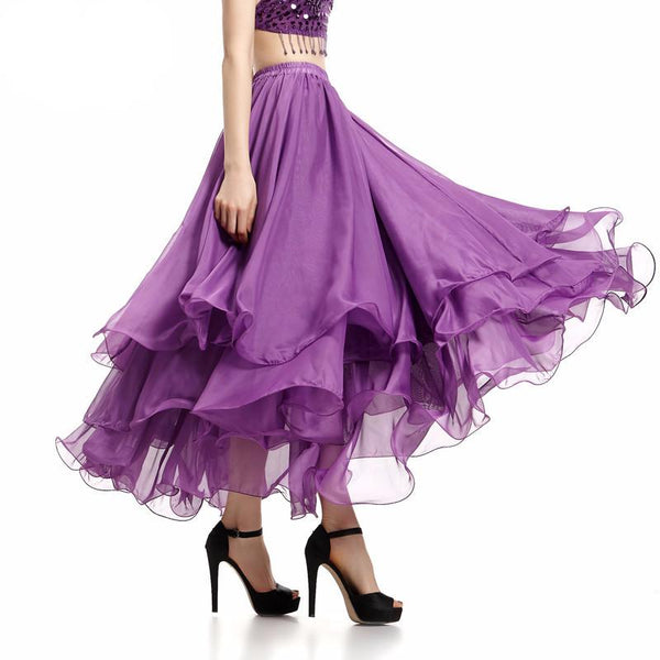 New Trendy England Style Summer Ruffles Skirts Fashion Ankle-Length Pleated Chiffon Long Skirt-SKIRT-SheSimplyShops