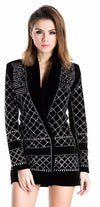 Sexy long sleeved studded blazer dress-Mini Dress-SheSimplyShops