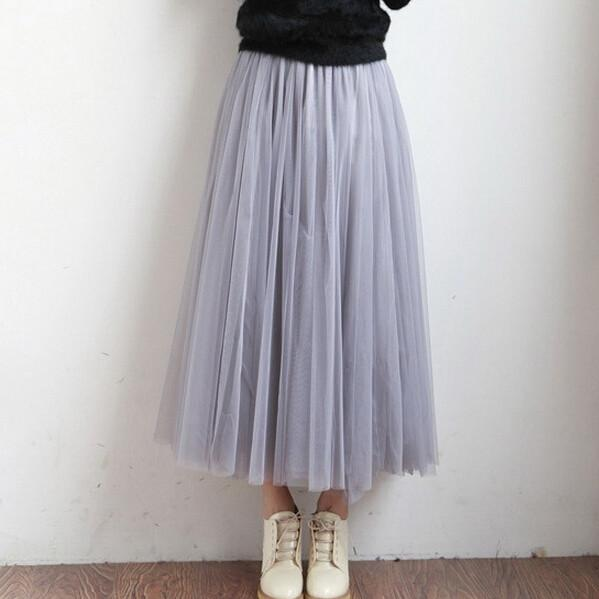 Summer Women Tutu Skirts Tulle Maxi Midi High Quality Vintage Pleated Long White American Apparel Skater-Dress-SheSimplyShops