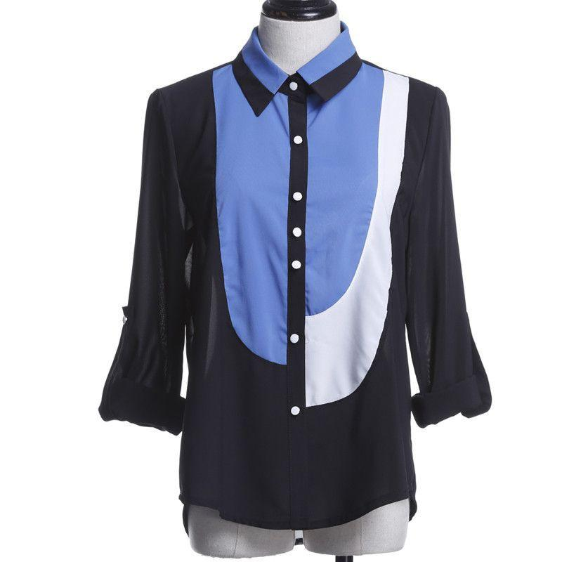 Blouse Shirt Chiffon Patchwork XXXXL 5XL 6XL Plus Size Body Female Blusas Roupas Casual Tops Tee Women Shirts Clothing-Blouse-SheSimplyShops