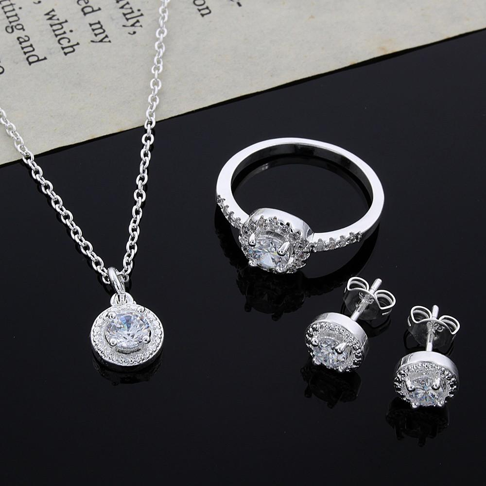 Elegant Classic Shiny Crystal CZ Necklace Earring Ring Plated Jewelry Set-EARRINGS-SheSimplyShops