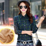 Tops Blusa Camisa Femininas Autumn winter warm cotton long-sleeved thick velvet women's plaid shirt flannel office shirts-Tops-SheSimplyShops