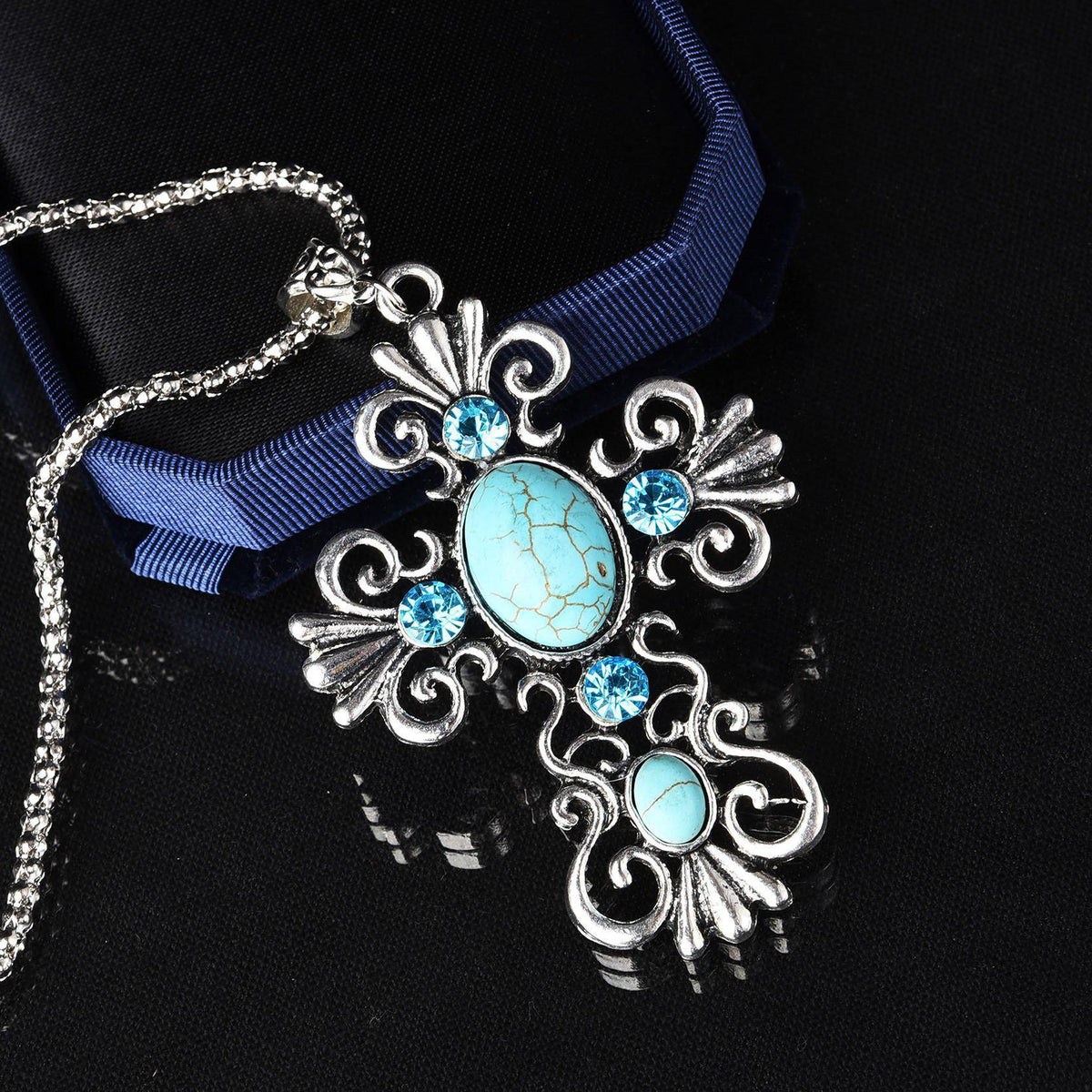 New Arrival Trendy Jewelry Bling Hollow Cross Pendant Statement Necklace Turquoise Silver Long Chain Necklace for Women-NECKLACES-SheSimplyShops