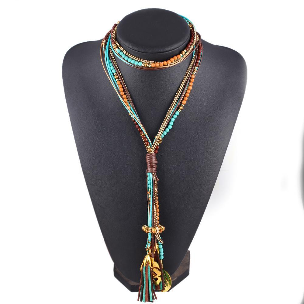 Maxi Colar Facet Beads Necklaces For Women Multi layer Long Necklace Statement Jewelry Collier-Maxi-SheSimplyShops