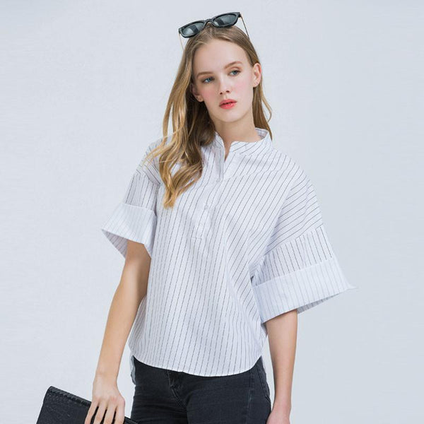 Summer Short Flare Sleeve Casual V-Neck Striped Women Tops Slim Fashion Blusas Woman Blouse WCS188