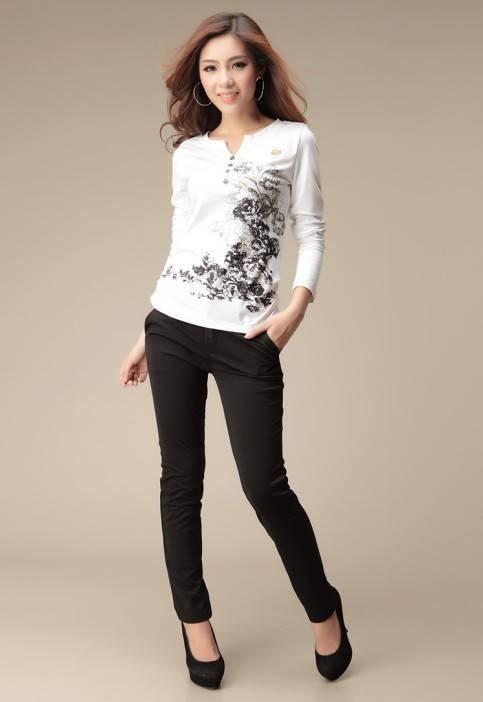 Women Long sleeve Printed T-shirt-SHIRTS-SheSimplyShops