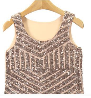 Sexy Black Silver Gold Sequin Tank top Womens Casual Sleeveless Vest Crop 2016 Hot Ladies Short Camisole Tank Top BodyBuilding-Tanks-SheSimplyShops