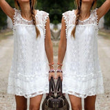 Sexy Womens Summer Casual Sleeveless Evening Party Beach Dress Short Lace Tassel White Mini Dress-Dress-SheSimplyShops
