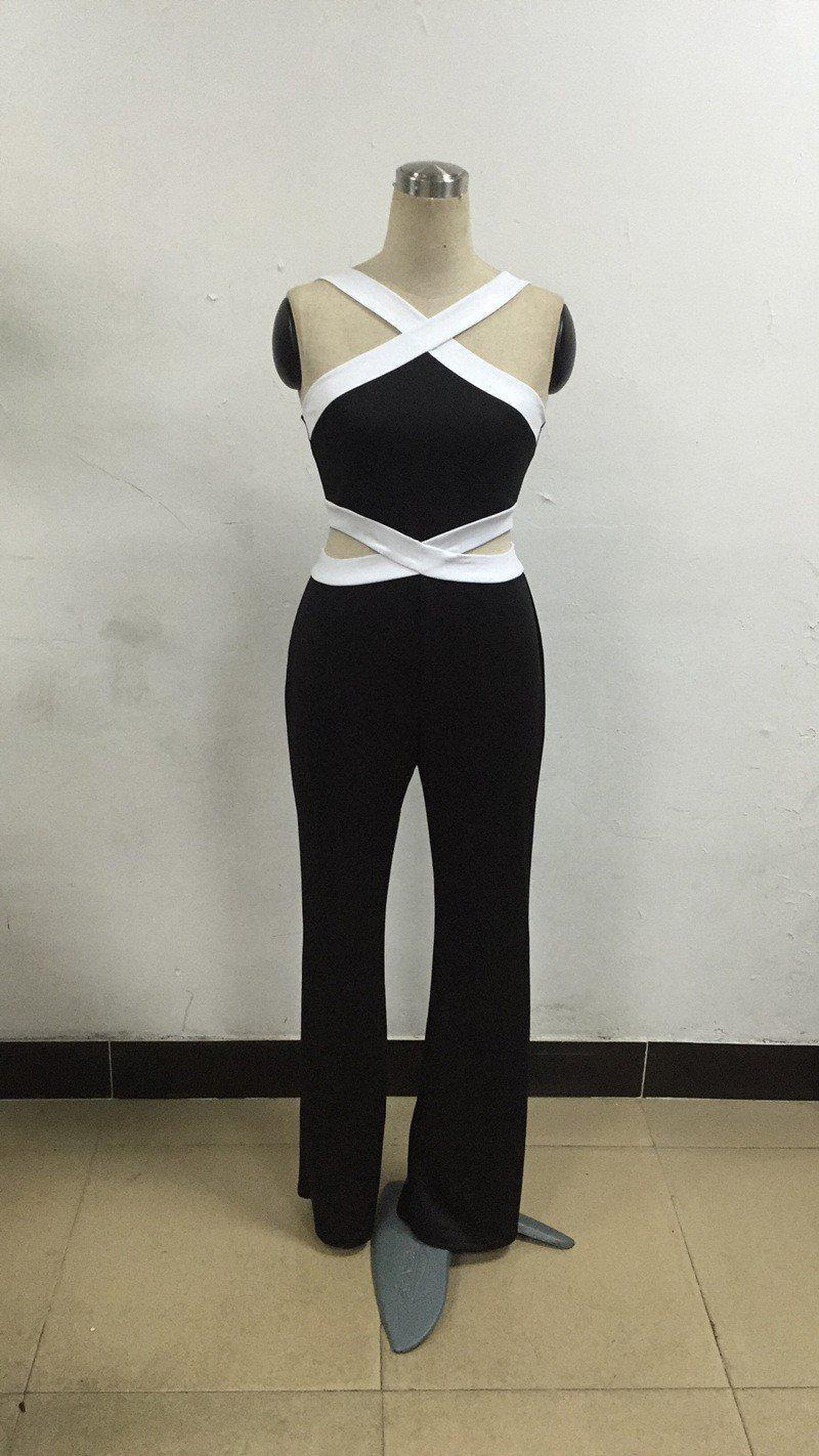 Large size Jumpsuit Women Overall Black White Stitching Sling Halter Sexy Elegant Waist New Womens Jumpsuit pants coveralls-ROMPERS & JUMPSUITS-SheSimplyShops