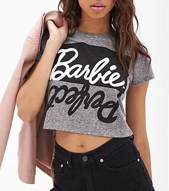 Ladies Sexy letter print top tee short Sleeve gray Crop Tops cropped for women punk hip hop t-shirts tshirt-SHIRTS-SheSimplyShops