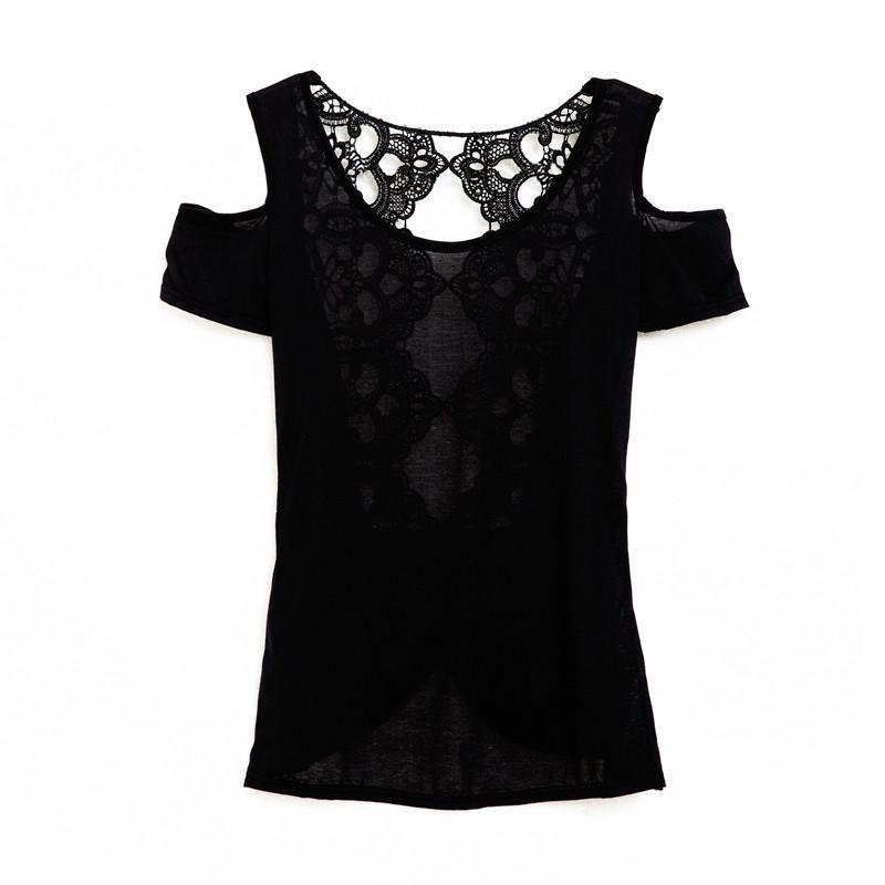HEEGRAND T Shirt Women Tops T-shirt Summer Sexy Fashion Patchwork Hollow Out Lace Back Solid Short Sleeve Top WTN120-SHIRTS-SheSimplyShops