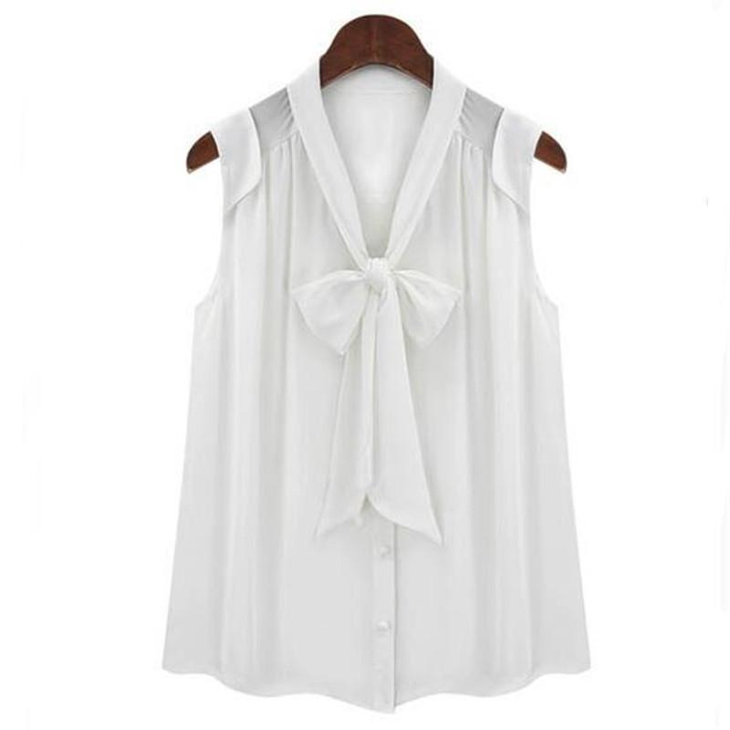White Black Color Sleeveless Chiffon Blouse for Women Summer Front Bow Tie V Neck Preppy Style Shirts Tops-Dress-SheSimplyShops