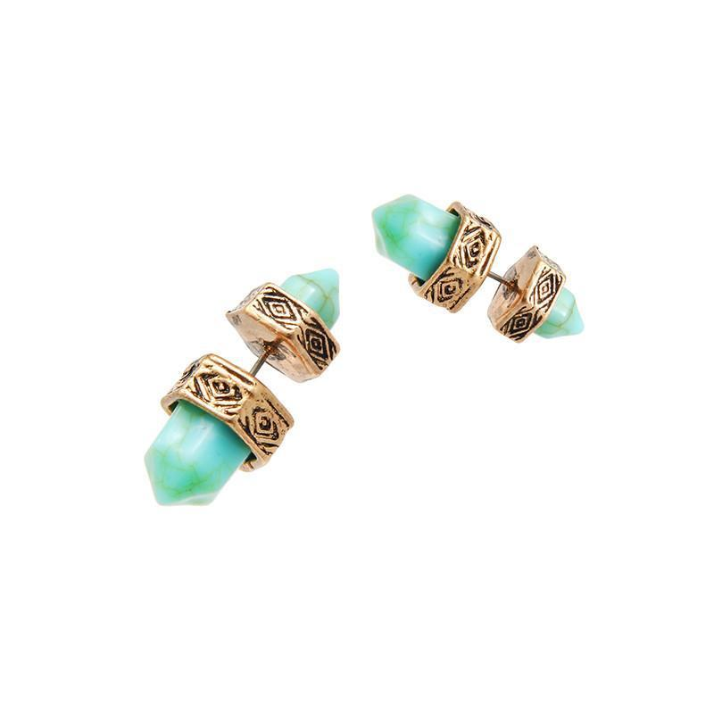Turquoise Double Marble Stone Stud Earrings-Dress-SheSimplyShops