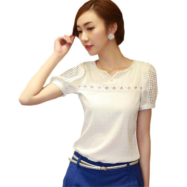 Women Lace Pearl Blouse 2016 Fashion Summer Short Sleeve Shirt V Neck Doll Tops Women Blouses Best New-Tops-SheSimplyShops