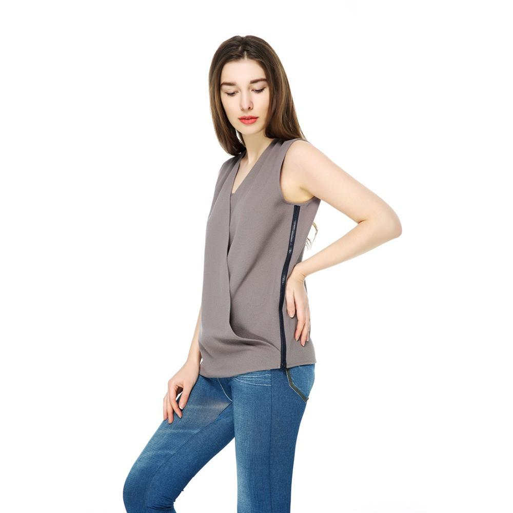 T-Inside Summer Brand Women's Elegant Blouse with Zipper in Left Side Fashion Design for Office-Blouse-SheSimplyShops